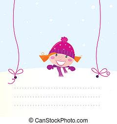 Christmas girl holding blank banner
