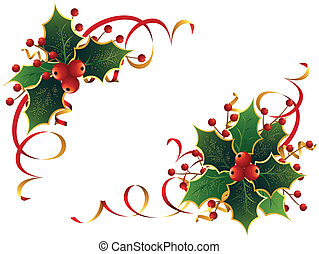 Stylish Christmas decoration with holly, in two different ways, isolated on white.