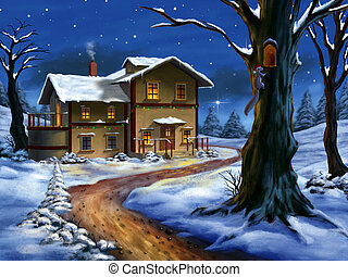A nice cottage in a wonderful christmas landscape. Hand painted illustration.