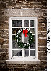 Christmas Wreath on Old Window Pane