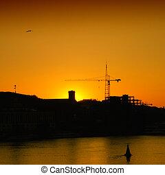 City silhouette on sunset