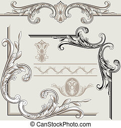 Classic Decor Elements, editable vector illustration