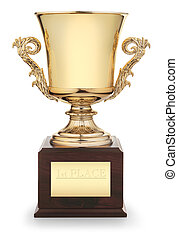 """Classic gold trophy cup on wood pedestal with engraved inscription """"1st Place"""" isolated on white background with clipping path"""