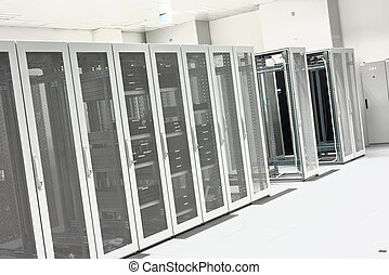 Clean industrial interior of a server room