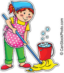 cleaning girl