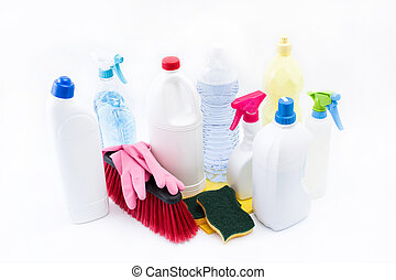Cleaning products isolated on white background.