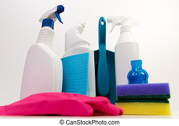 Cleaning products on a white background.