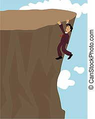 Man hanging on a cliff.