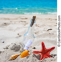 bottle with message on the sand