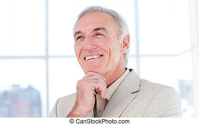 Close-up of a smiling senior businessman in a business building