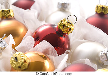 christmas balls in box