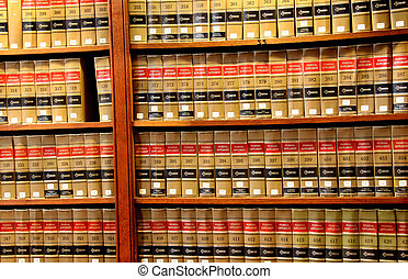 Close up shot of books in Law book library
