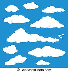 A set of white cloud in a blue sky.