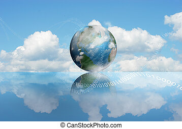 Cloud Computing technology with an cloudy earth and digits