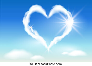 Cloud heart in the sky, and sunlight
