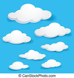 Cartoon clouds. Illustration on blue background for design