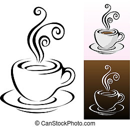 coffee cups icons in different colours & styles, vector illustration