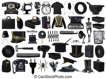 Collage of Black objects on white background
