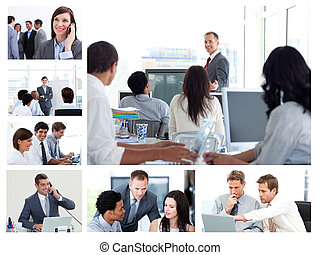 Collage of business people using technology