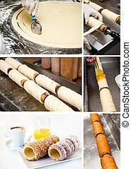Collage with photos of Preparation Kurtoskalacs