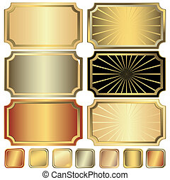 Collection golden, silvery and frame