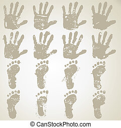 collection hand and feet prints