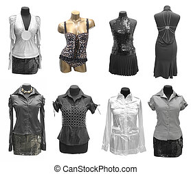 collection of dress on mannequin
