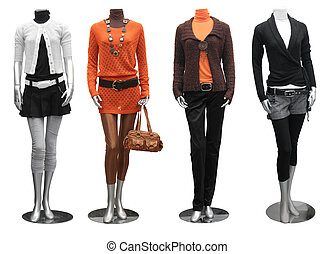 collection of fashion dress on mannequin isolated