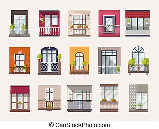Collection of windows and balconies of modern and old-fashioned styles. Bundle of elegant building decorations, architectural elements or exterior details. Flat colorful vector illustration.