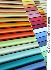 Color samples of a fabric in shop