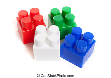 colored blocks constructor isolated on a white background