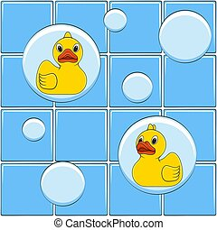Colored vector background with yellow ducks and bubbles