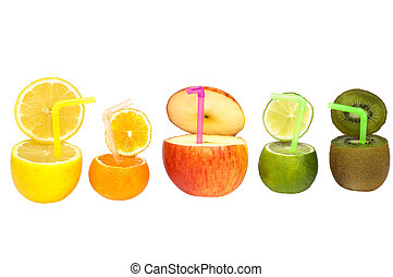 Colorful abstract fruit drink with straws isolated