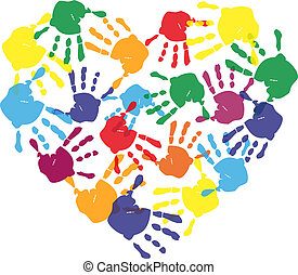 Colorful child hand prints in heart shape