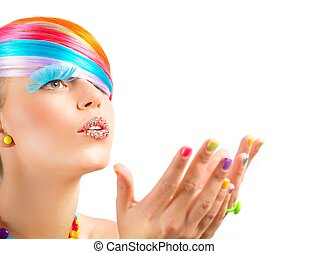 Colorful fashion makeup