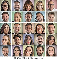 Colorful portrait collage of many smiling faces