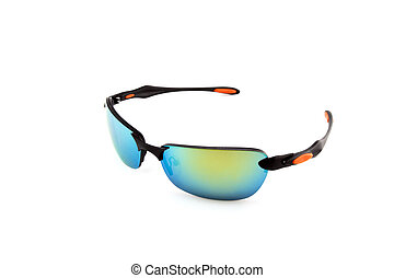 Colorful sunglasses on white background