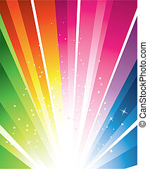 A colourful design with a burst and stars