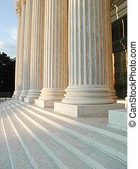 Columns on Steps of Supreme Court in Washington, D.C.