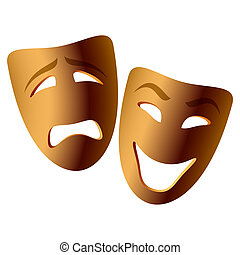 Vector illustration of comedy and tragedy masks