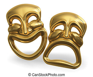 A 3d rendering of the classic comedy-tragedy theater masks isolated on white with a clipping path