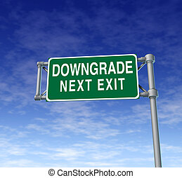 Company downgrade symbol on a green highway sign representing the concept of a bad rating on a business that is not profitable and is performing below shareholders expectations.