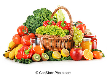 Composition with variety organic vegetables and fruits in wicker basket isolated on white
