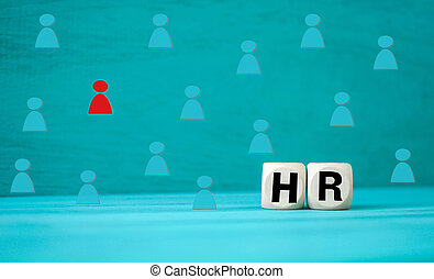 Concept Human resources block wooden on background
