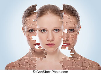concept of cosmetic effects, treatment and skin care. face of young woman before and after the procedure
