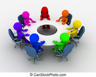 3d people - human character, person of different nationalities at the conference table . 3d render