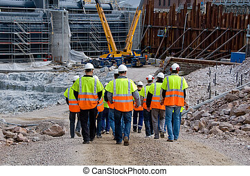 Construction workers going to work