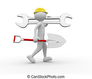 3d people - man, person with a wrench and a spade