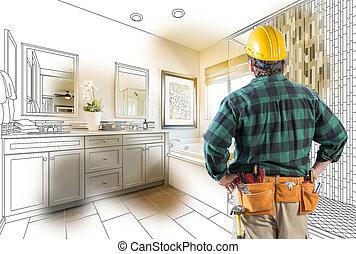 Contractor Facing Custom Master Bathroom Drawing and Photo Gradation