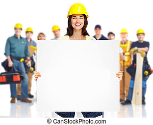 Contractor woman and group of industrial workers.